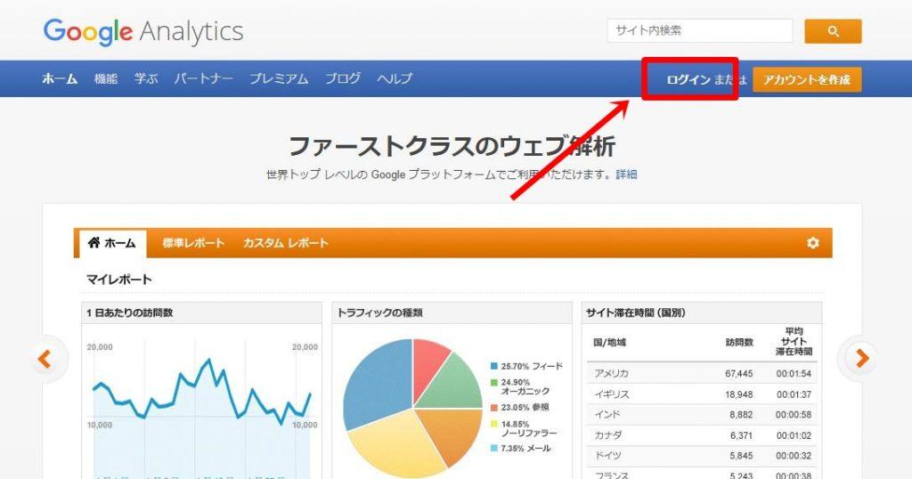 google analyticsのログイン方法