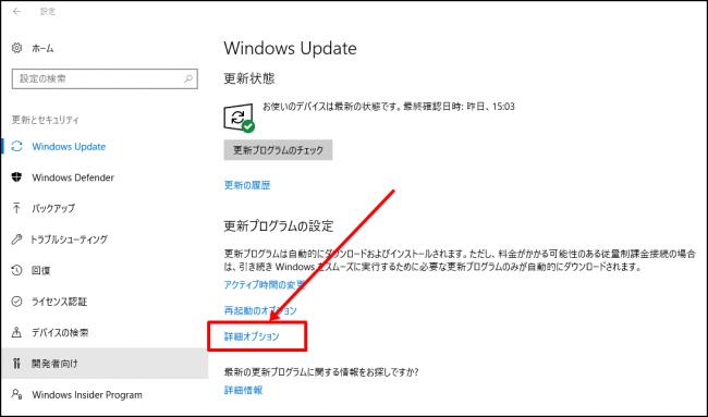 Windows Updateの詳細オプション