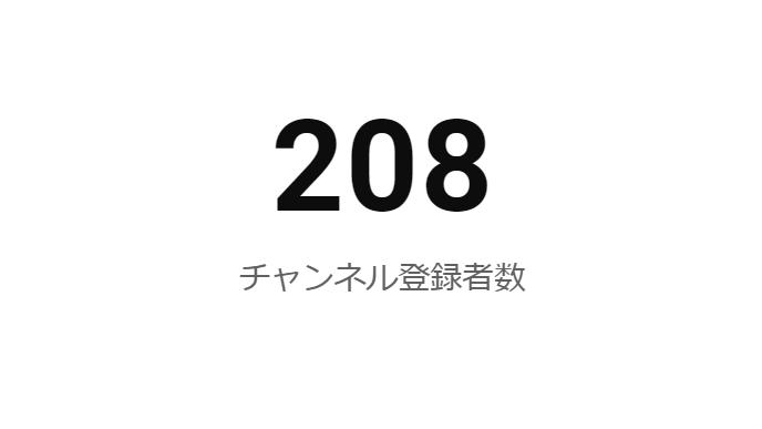 Youtubeのチャンネル登録者数200人を突破しました